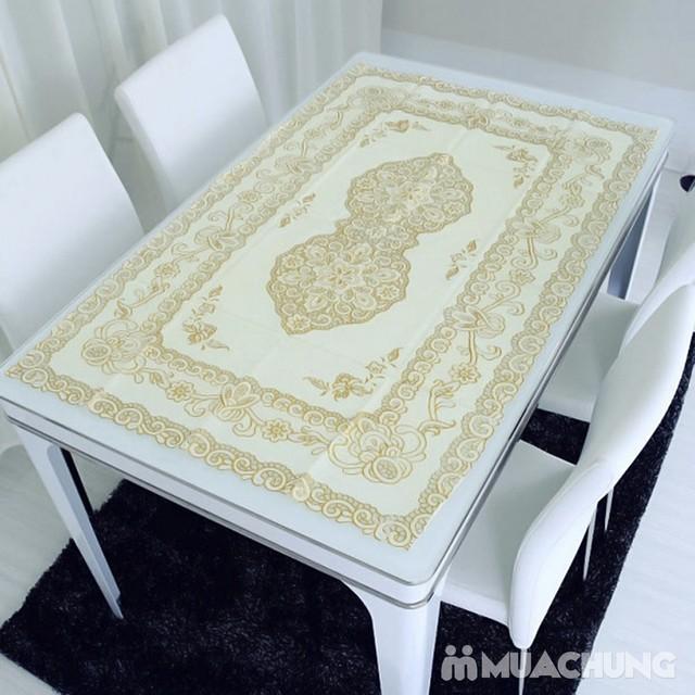 Combo 2 khăn trải bàn dập hoa nổi sang trọng - 35