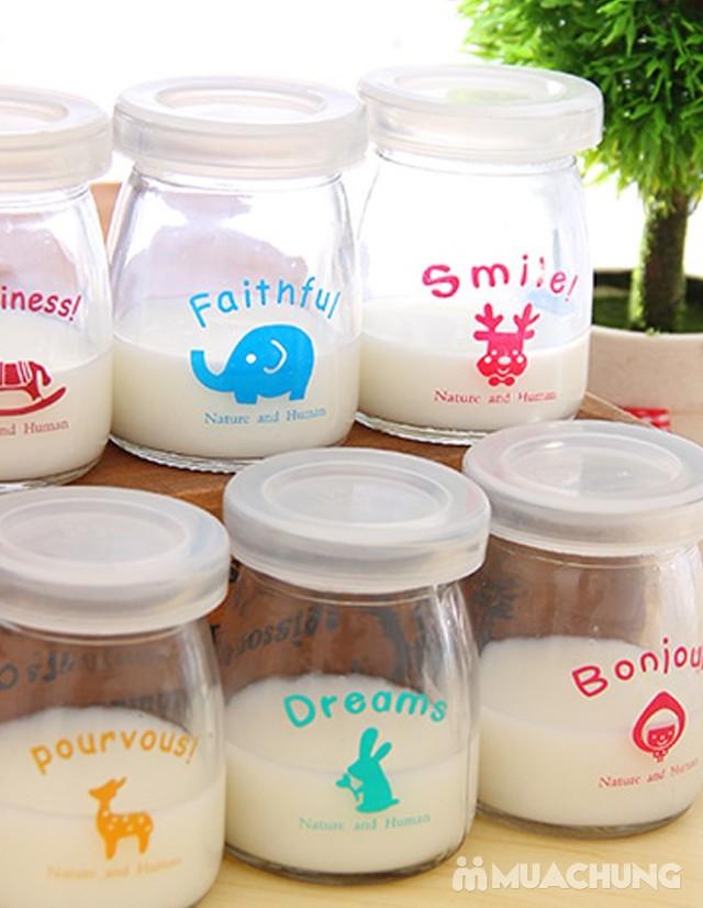 Bộ 12 cốc làm sữa chua thủy tinh họa tiết đáng yêu - 3