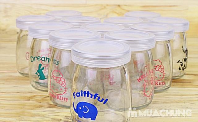 Bộ 12 cốc làm sữa chua thủy tinh họa tiết đáng yêu - 2