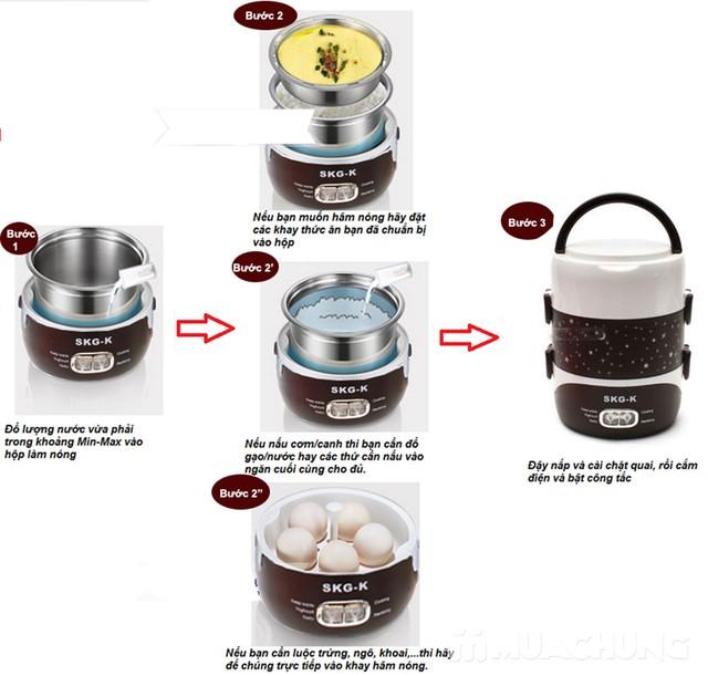 Hộp cơm cắm điện inox 3 ngăn cao cấp SKG-K4216 - 11
