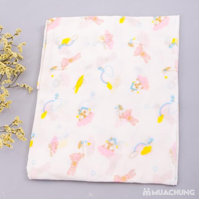 2 khăn tắm sơ sinh họa tiết 4 lớp- hàng xuất Nhật  - 3