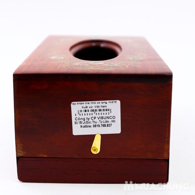 Hộp đựng giấy ăn khảm trai + ống đựng tăm bằng gỗ  - 10