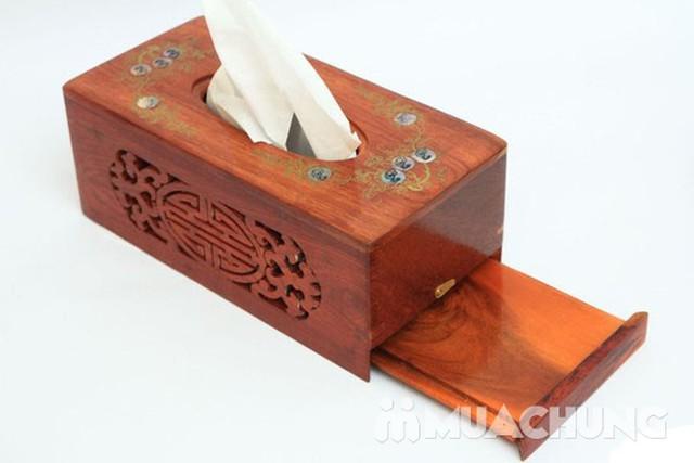 Hộp đựng giấy ăn khảm trai + ống đựng tăm bằng gỗ  - 5