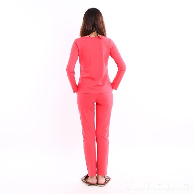 Bộ mặc nhà 100% cotton cổ V cách điệu - 5