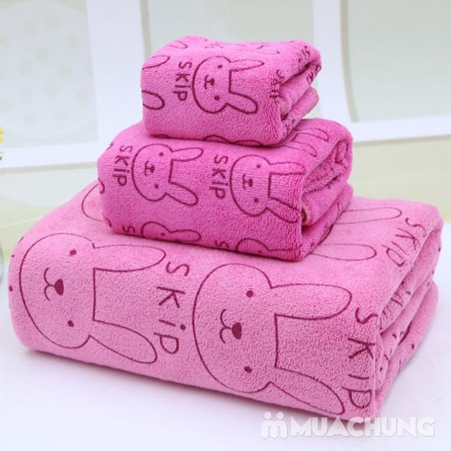 Set 3 khăn nhà tắm sợi cotton mềm mịn cho bé - 1