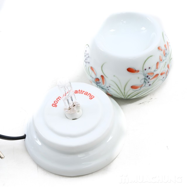 Đèn xong tinh dầu cắm điện loại nhỏ- sứ Bát Tràng  - 9