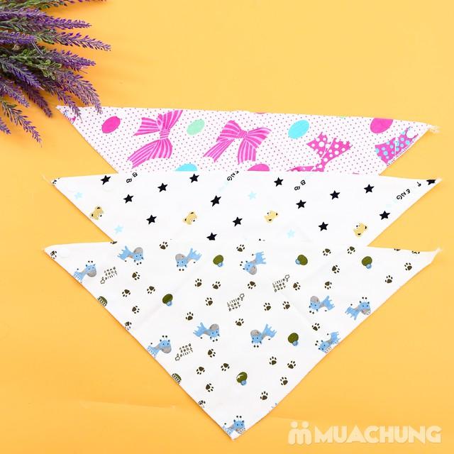 6 khăn yếm cotton 2 lớp họa tiết cho bé - 4