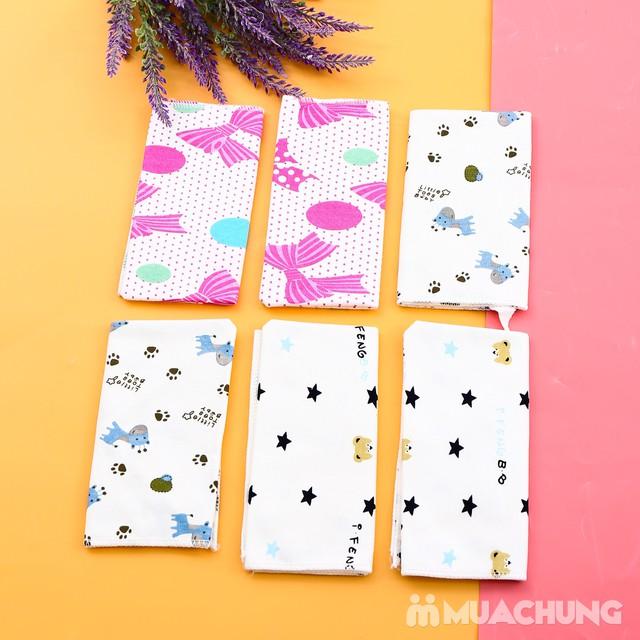 6 khăn yếm cotton 2 lớp họa tiết cho bé - 1