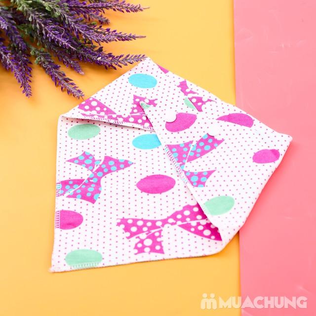 6 khăn yếm cotton 2 lớp họa tiết cho bé - 3