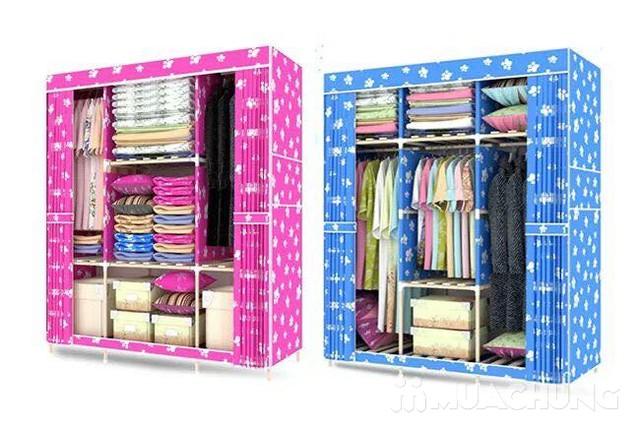 Tủ vải 3 buồng thanh lắp ráp bằng gỗ siêu chắc - 6