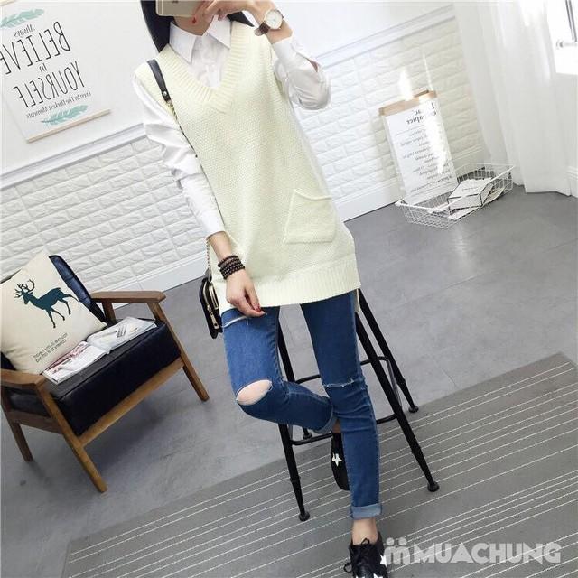 Áo len gilê dáng dài thời trang cho bạn gái - 4