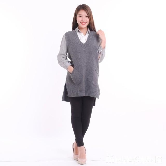 Áo len gilê dáng dài thời trang cho bạn gái - 7