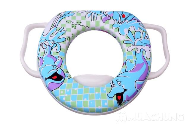 Bệ ngồi toilet có tay cầm và đệm ngồi cho bé - 5