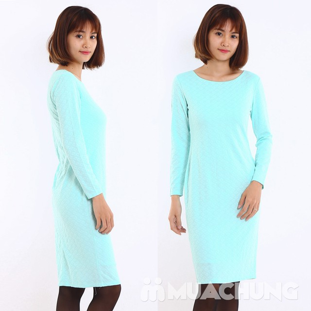Váy công sở dài tay Thu - Đông chất thun xốp  - 3