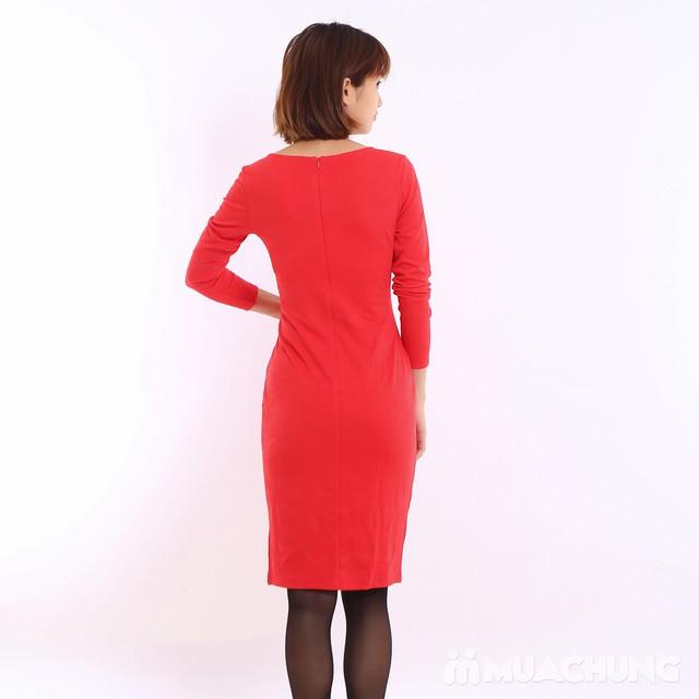 Váy công sở dài tay Thu - Đông chất thun xốp  - 9