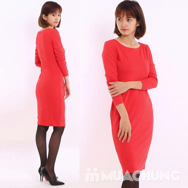 Váy công sở dài tay Thu - Đông chất thun xốp  - 2