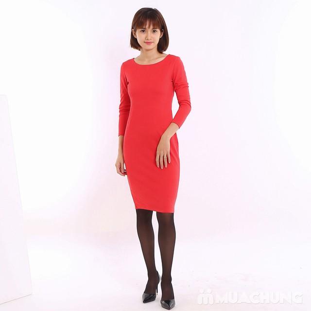 Váy công sở dài tay Thu - Đông chất thun xốp  - 5
