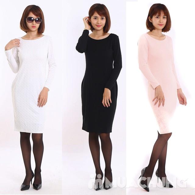Váy công sở dài tay Thu - Đông chất thun xốp  - 4