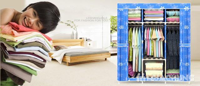 Tủ vải 3 buồng 8 ngăn dáng kéo rèm 1m3x0.45mx1m7 - 8
