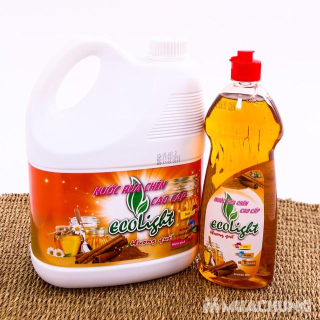 Nước rửa chén Ecolight hương quế 3.6L -Tặng 1 chai - 5