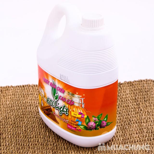 Nước rửa chén Ecolight hương quế 3.6L -Tặng 1 chai - 1