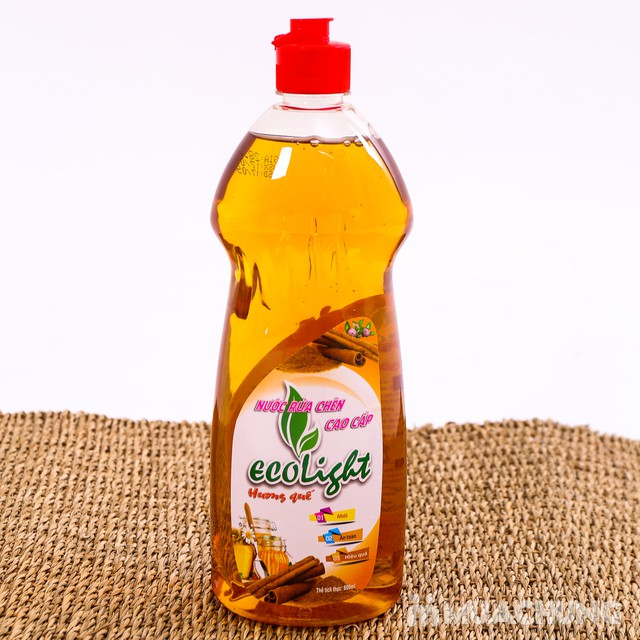 Nước rửa chén Ecolight hương quế 3.6L -Tặng 1 chai - 3
