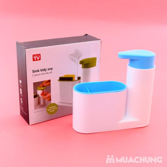Hộp đựng nước rửa bát + giẻ + bàn chải đa năng - 14