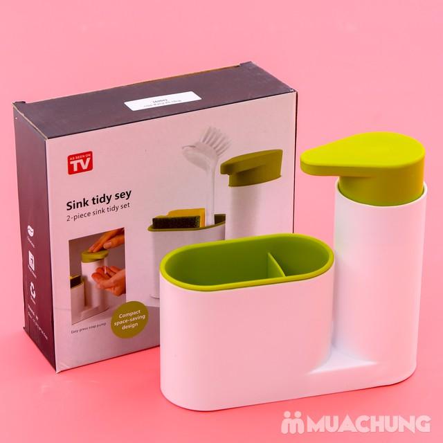 Hộp đựng nước rửa bát + giẻ + bàn chải đa năng - 12