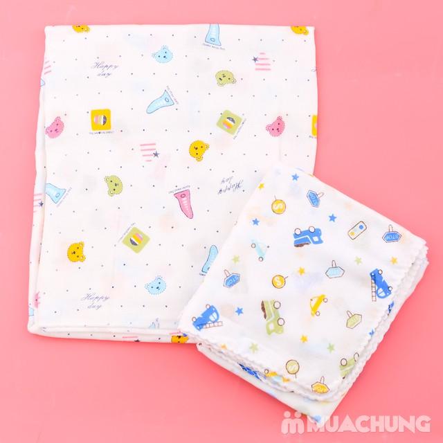 Combo 1 khăn tắm + 10 khăn xô họa tiết cho bé yêu - 8