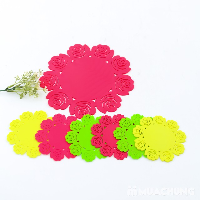 Set 1 lót nồi + 6 lót cốc silicon dập hoa xinh xắn - 5