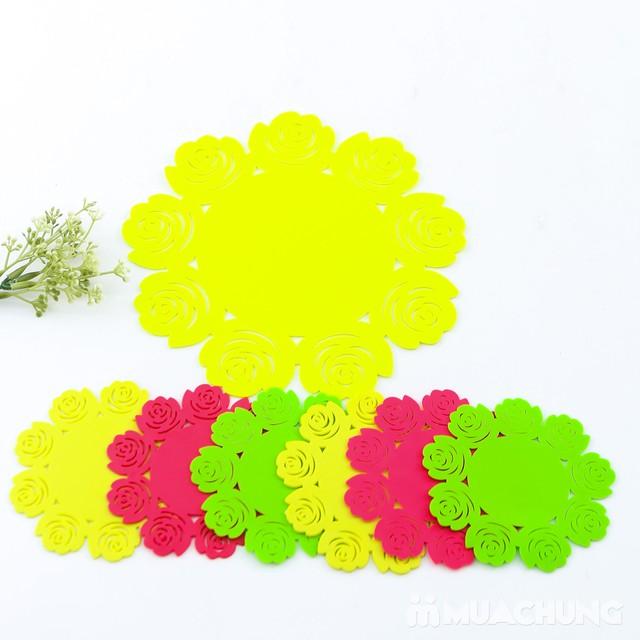 Set 1 lót nồi + 6 lót cốc silicon dập hoa xinh xắn - 7