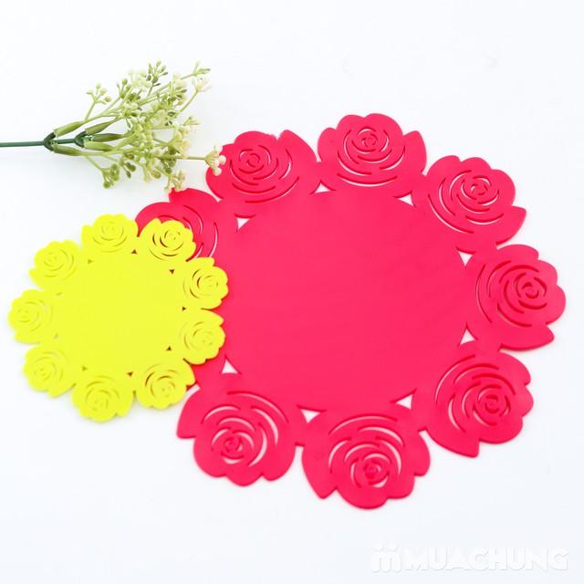 Set 1 lót nồi + 6 lót cốc silicon dập hoa xinh xắn - 4