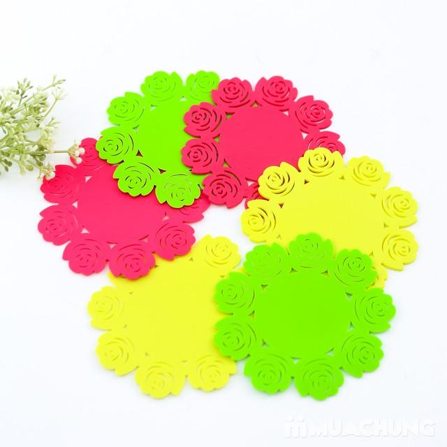 Set 1 lót nồi + 6 lót cốc silicon dập hoa xinh xắn - 6