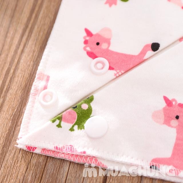 Set 5 khăn yếm tam giác 2 lớp chất cotton mềm mịn - 12