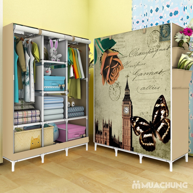Tủ vải cao cấp 3 buồng 8 ngăn họa tiết 3D đẹp mắt - 10