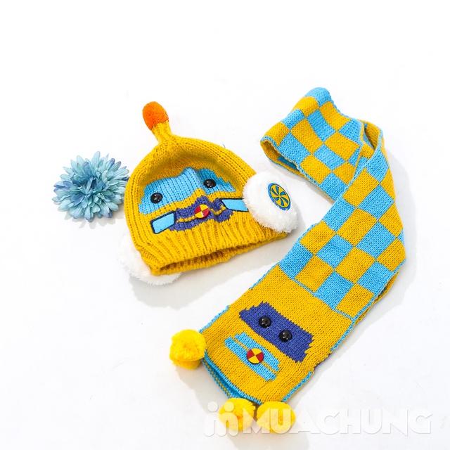 Set khăn dài + mũ len hình robot ngộ nghĩnh cho bé - 3