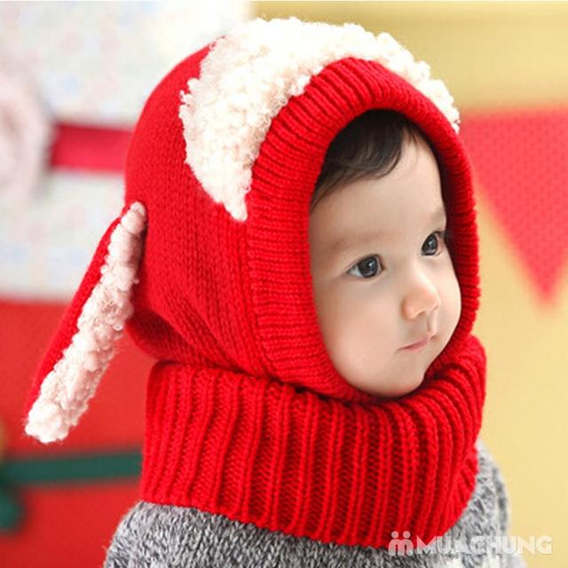 Mũ len tai cừu có cổ siêu ấm cho bé yêu - 9