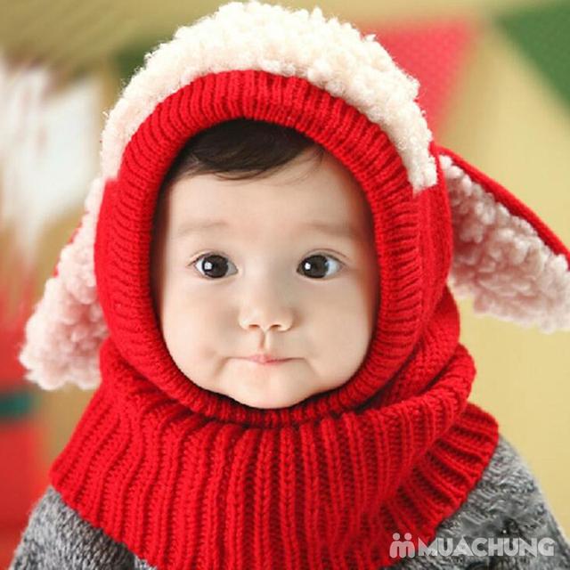 Mũ len tai cừu có cổ siêu ấm cho bé yêu - 8
