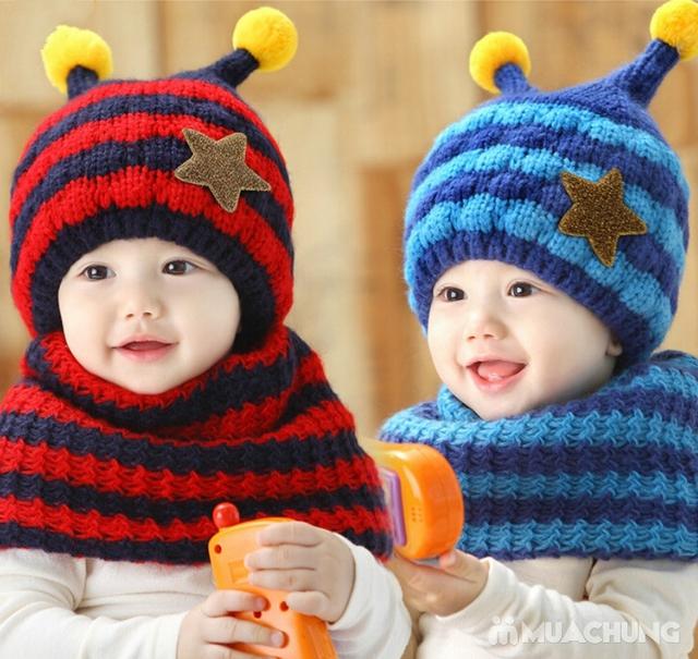 Set khăn ống+ mũ len ốc sên xinh yêu, ấm áp cho bé - 1
