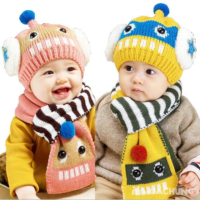 Set khăn dài + mũ len hình robot ngộ nghĩnh cho bé - 11