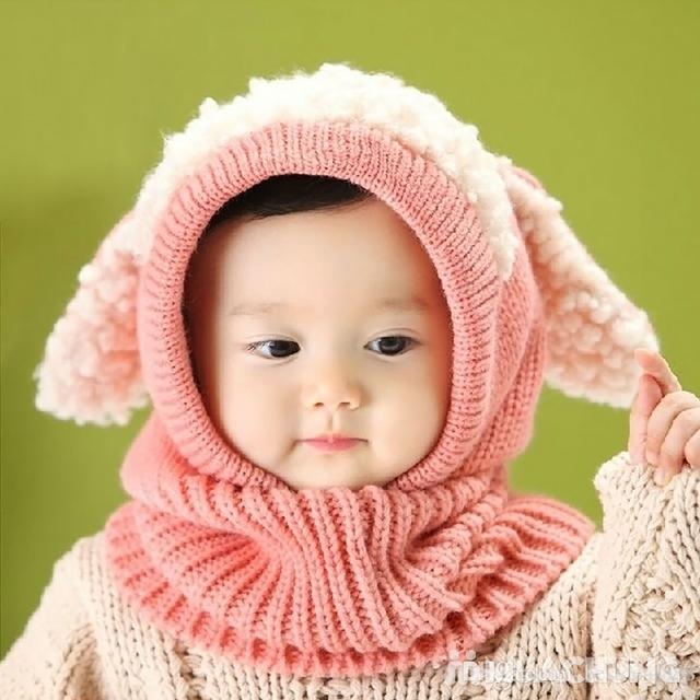 Mũ len tai cừu có cổ siêu ấm cho bé yêu - 5
