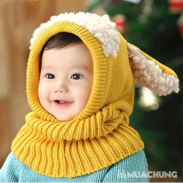 Mũ len tai cừu có cổ siêu ấm cho bé yêu - 6