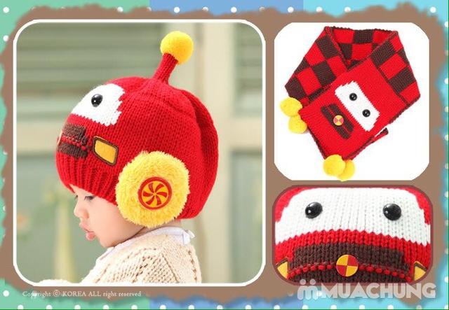 Set khăn dài + mũ len hình robot ngộ nghĩnh cho bé - 1