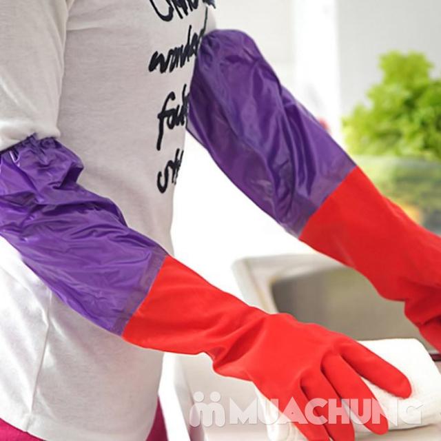 2 đôi găng tay cao su lót nỉ loại dài có chun - 8