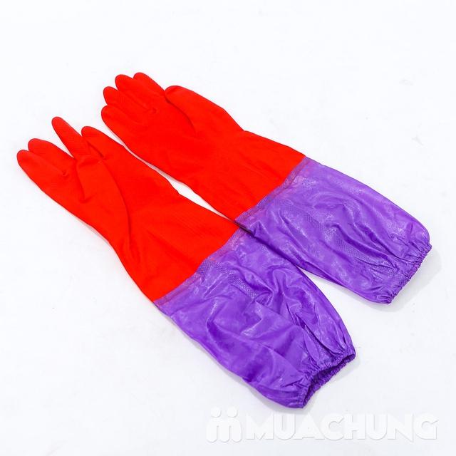 2 đôi găng tay cao su lót nỉ loại dài có chun - 6