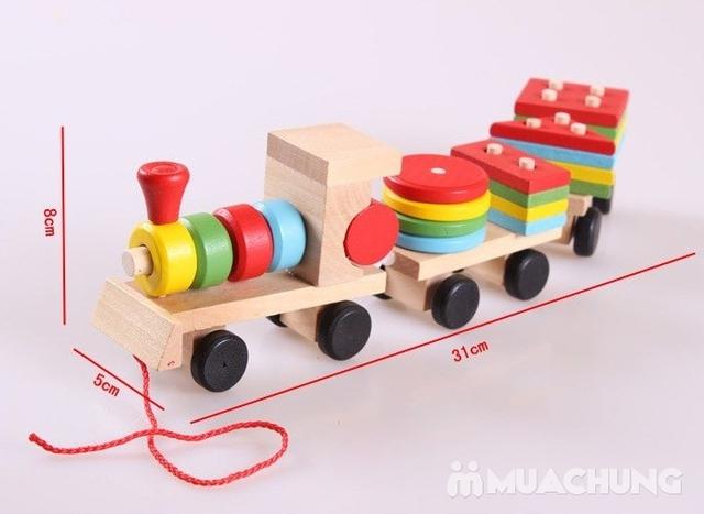 Bộ tàu hỏa thả hình bằng gỗ cho bé - 13