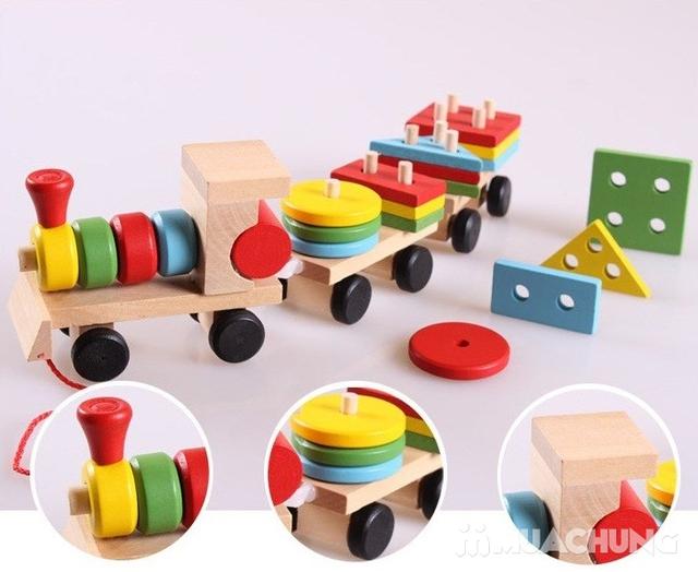 Bộ tàu hỏa thả hình bằng gỗ cho bé - 12