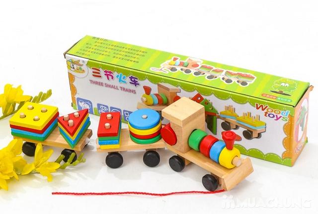 Bộ tàu hỏa thả hình bằng gỗ cho bé - 15
