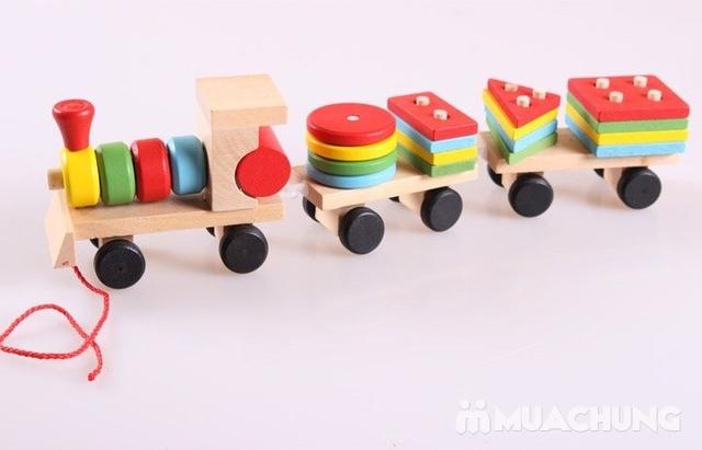 Bộ tàu hỏa thả hình bằng gỗ cho bé - 8