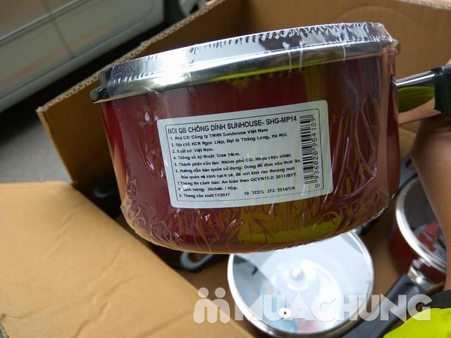 Nồi nấu quấy bột chống dính Sunhouse 14cm nắp kính - 3